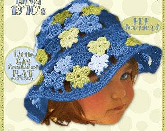 Darlin Crochet Flower HAT E-Z Child Girl Vintage Pattern 70s BoHo Instant Pdf