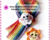 Crochet Colorful RAINBOW Sun and Cloud Scarf PDF Pattern Boutique Design - No. 51 by AngelsChest