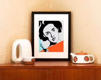 Hey Ladies - Orange, Aqua & Black Art Print on 100% Recycled Paper (Free Shipping in US)