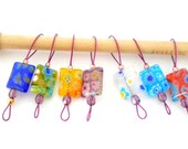 Bead Knitting Stitch Markers - Set of 7 - Fits up to US 9 and US 2 - Mix Oblong Millefiori Beads