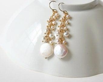 Coin Pearl Earrings, Bridal Earrings, Wedding Jewelry