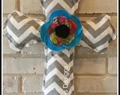 Burlap and Modern Chevron Cross Door Hanger or Wall Decoration