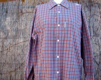 Vintage 80s / BODY GLOVE / Men's / Plaid / Long Sleeve / Button Up / Shirt / LARGE