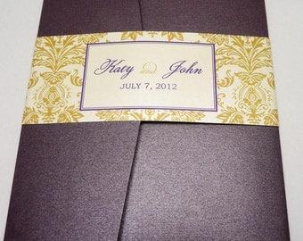 Eggplant Wedding Invitation / Gold Wedding Invite / Katy Damask Pocketfold Sample