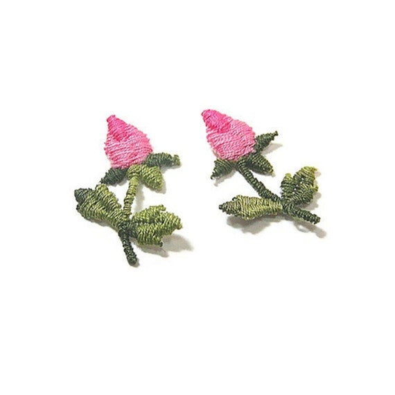Rosebud Applique, Pink Floral Applique, Single Rosebud, Wedding Rose, Embroidered, Pink, Green, Patch, Lot of 12, Flower, Sew On Patch