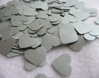Wedding confetti - silver heart confetti - paper confetti - card stock confetti - silver confetti - weddings
