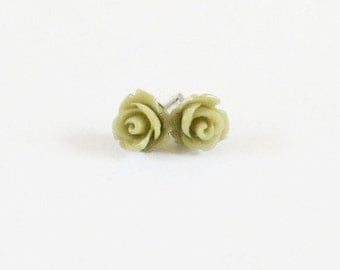 Tiny Olive Rose Stud Earrings- Surgical Steel or Titanium Post Earrings- 7mmBlack Friday Sale 20% Off
