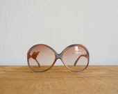 Vintage 1970s deadstock brown blue satin frame sunglasses. Oversized butterfly eyewear - BottegaVintage