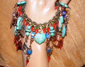 Day of the Dead Bracelet Turquoise Sugar Skull Jewelry Frida Kahlo Rockabilly Jewelry Steampunk OOAK No.7