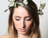 Yellow Butterfly Crown - wedding, bride, fantasy, woodland, fairy tale - neesiedesigns