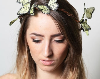 Yellow Butterfly Crown - wedding, bride, fantasy, woodland, fairy tale