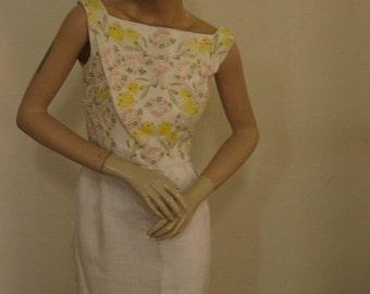 SALE  1960's Mad Men Linen Wiggle Dress With Pastel Tulip Appliques