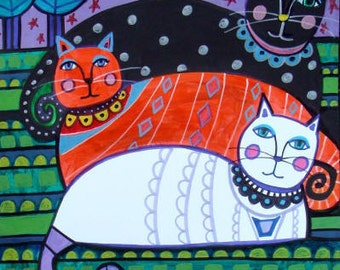 60% Off- Cat Folk art Poster Print of  Painting  by Heather Galler by Heather Galler (HG270)