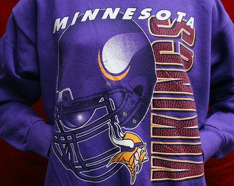 1980/90's Minnesota Vikings NFL football purple unisex 50/50 sweatshirt - men's sz M/L
