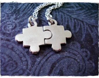 Silver Best Friends Puzzle Piece Necklaces - Sterling Silver BFF Puzzle Piece Charms on TWO Sterling Silver Cable Chains or Charms Only