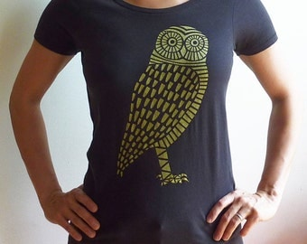 SALE! Organic Gold Owl Scoop Neck T-Shirt