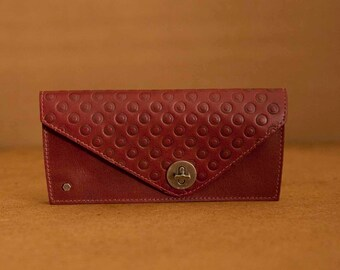 Women's red leather wallet - expandable wallet - Free Shipping