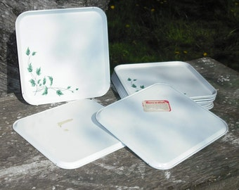 Vintage Set of 12 Serve-a-Dish Metal Tray Ivy Design White Square Cottage Country Retro Wedding Gift Home Dining Picnic Entertaining