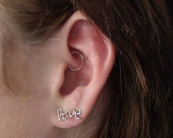 Tiny Hoop for Rook, Daith, Tragus and Cartilage, Seamless Hoop Cartilage Earring, Silver or Yellow Gold Filled and NOW Rose Gold Filled