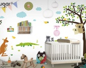 Forest Friends Wall Decals - Koala Tree Wall Stickers with Kangaroo, Wombats, Alligator, Owl, and Birds - 0115