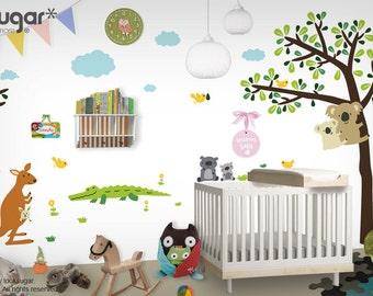 Children Wall Decals with Koala Tree, Kangaroo, Wombats, Alligator, Owl, and Birds - Australian Animal Wall Art - 0115