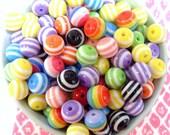 50x 10mm Resin Multi color stripe Globe beads