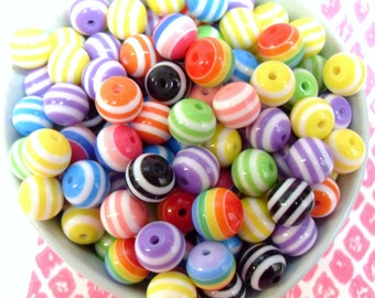 50x 10mm Resin Multi color stripe Globe beads