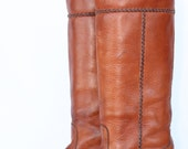 One of a Kind, Sexy, Rocking tall Braided Studded vintage Frye boho leather cuffed campus riding boots 7.5 B Brand new soles and  heels.