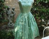 "50's Dress Mint Green Mad Men Sharkskin Taffeta Full Skirted Prom Rockabilly 25"" waist AS IS"