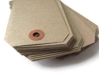 "200 Recycled Kraft Brown Tags - Large Shipping / Parcel Tags - Blank - Cardstock - 4 3/4"" x 2 3/8"" - Eco Friendly Packaging - Plain - 4.75"""