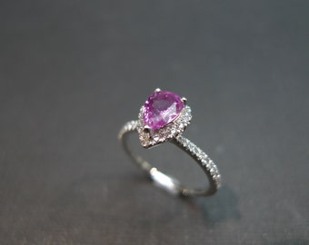 Pink Sapphire Engagement Ring, Pink Sapphire Ring, Diamond Ring, Diamond Engagement Ring, Pink Sapphire Diamond Ring, Pear shaped Ring