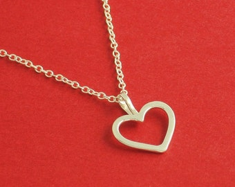 Petite Sterling Silver Heart Necklace, Sterling Silver Cable Chain, Ready To Ship