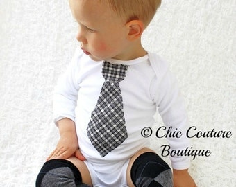 Baby Boy Tie Bodysuit & Leg Warmers SET.  Black White Plaid Argyle.  1st Birthday Outfit, Cake Smash Outfit. Valentine's Day, Easter