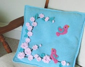 Crochet Pattern for Pillow cover with bird and flower appliques - INSTANT DOWNLOAD .pdf