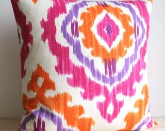 Orange and Pink Ikat Pillow Cover - 16 x 16 Ikat Cushion Cover - Ikat Tribal Tangerine