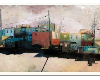 """Encanto ciudad, Baltimore MD - paisaje urbano arte litografía - 11,5 x 22""""- firmada por el artista"""