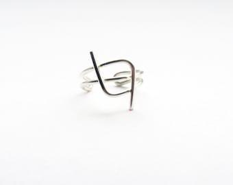 Ear Cuff Silver Minimalistic Ear Cuff Modern Geometric Ear Cuff Wire Wrapped