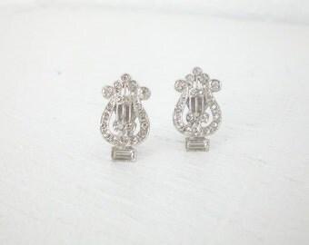 Vintage Rhinestone Lute Earrings Tiny Silver Tone Clip On Vintage Mid Century Costume Jewelry GallivantsVintage