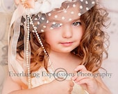 Vintage Hat, Veil, Wedding Veil Hat, Girl's Hat, Flower Girl, Great for Weddings, Photo Shoots, Tea Parties,  Birthday Parties and Dress up