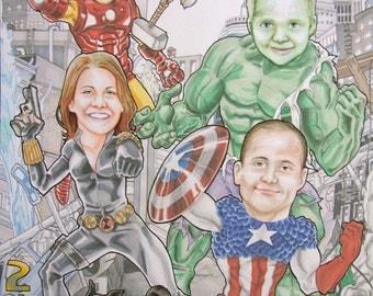 Avengers Assemble Family Custom Portrait Personalized Marvel Comic Art Family of 6