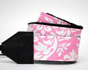 Pink Camera Strap - SLR Camera Strap - Pink Damask