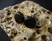 Handmade Natural Black Ebony Wood Stud / Post Earrings - Great Gift Idea