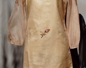 Silk Organza Appliqued Dress and Purse