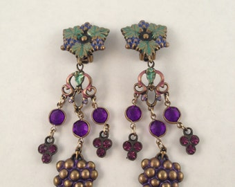 Signed Purple Rhinestones Grape Long Dangle Earrings Grapes Leaves - Vintage Designer shoulder duster high fashion - statement - wine runway