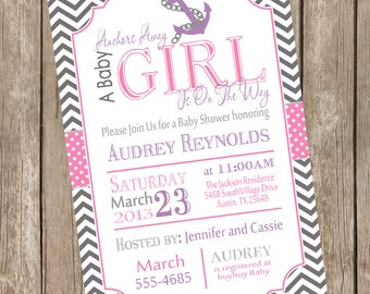Chevron anchors away a baby is girl on the way baby shower invitation, pink, purple, grey, anchor, nautical, printable invitation
