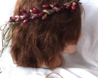 Wedding hair accessories flower girl halo bridal headpiece burgundy berry halo festival head wreath bridal halo