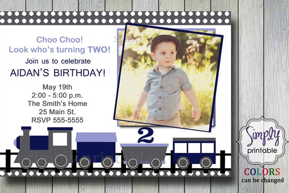 Train Invitation Blue & Gray