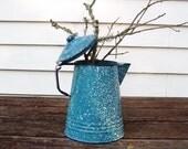Vintage Graniteware Blue Teapot Splatterware Coffee Pot Enamelware Tea Pot  Blue and White