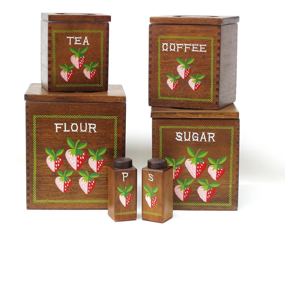 Wooden canisters strawberry decor 1960s kitchen wood salt - Strawberry kitchen decorations ...