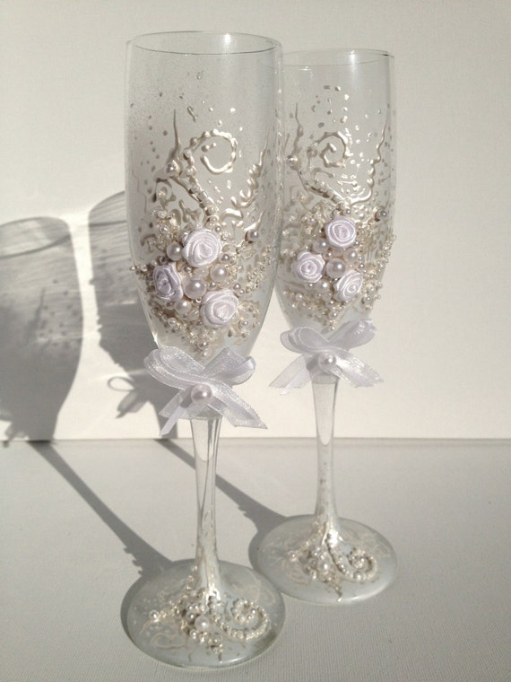 Hand decorated wedding toasting flutes in ivory by ...